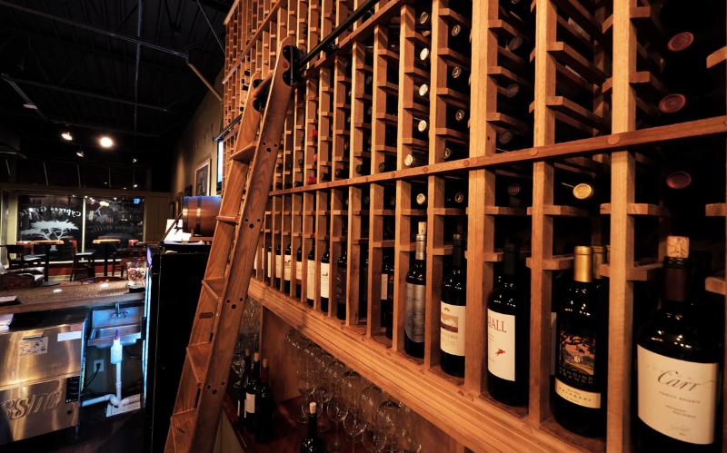 View of the wine collection at Cypress Grille